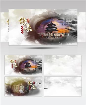 水墨风中国文化孝道传承文化模板
