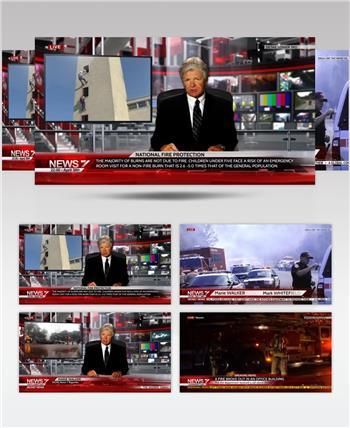 13182 新闻演播室栏目包装 AE素材 ae源文件模版 栏目包装ae