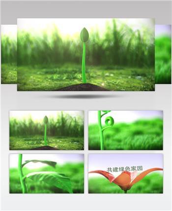绿色植物生长环保片头AEcc2017模板