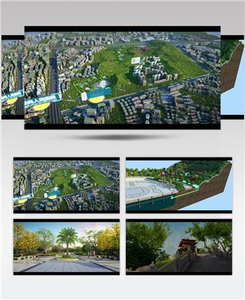 松岗公园20160425 公园多媒体演示 道路景观三维动画 道路设计动画
