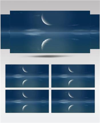 弯弯的月亮 款A20211海面映月无音乐 led视频素材