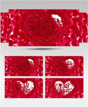 红色玫瑰花瓣妇女节LED背景视频
