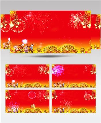 新春喜庆背景(鞭炮声)红色喜庆 春节春节 新年 新春佳节 过年