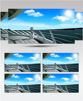 沙滩椰树 款A19151油轮蓝天大海无音乐 led视频素材