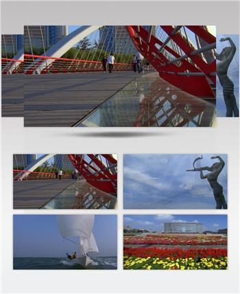青岛风景+城市面貌中国名胜风景标志性景点高清视频素材