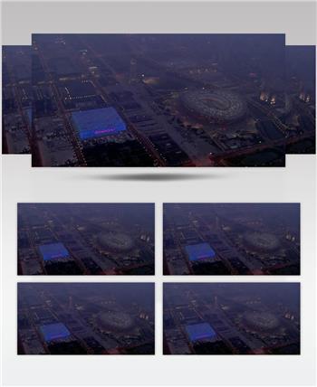 鸟巢水立方1中国名胜风景标志性景点高清视频素材