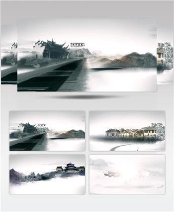 中国风水墨古建筑片头视频