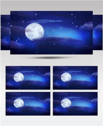 -唯美月光夜色中秋晚会款D1681唯美星空月亮 led视频素材