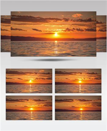 从海上看到的惊人日落