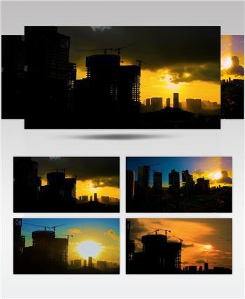 实拍深圳城市建设塔吊盖楼延时摄影