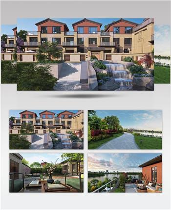 新中式别墅园林景观三维效果