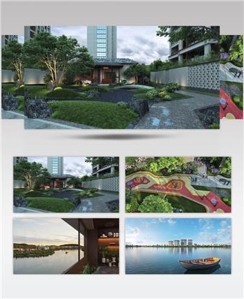 新中式住宅园林景观三维动画