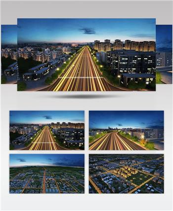 城市道路车流穿梭三维镜头