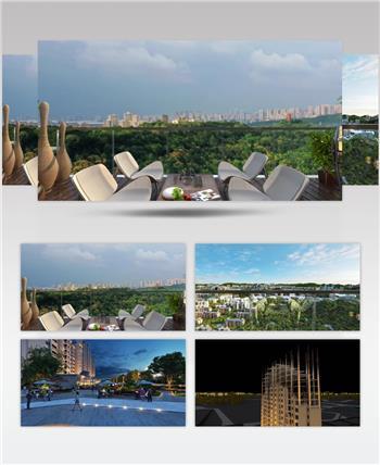 欧式阳台景观生长动画三维建筑