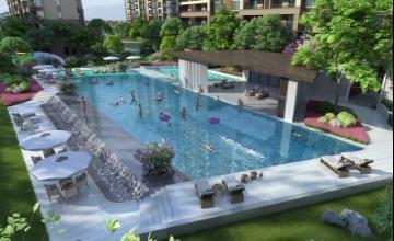 高档小区中庭游泳池景观三维效果